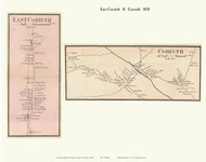 Corinth and East Corinth Villages, Vermont 1858 Old Town Map Custom Print - Orange Co.
