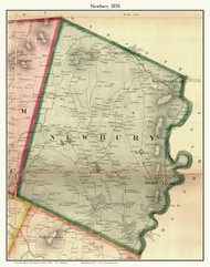 Newbury, Vermont 1858 Old Town Map Custom Print - Orange Co.