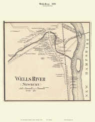 Wells River Village, Vermont 1858 Old Town Map Custom Print - Orange Co.
