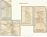 Randolph, North Randolph, South Randolph, and East Randolph Villages, Vermont 1858 Old Town Map Custom Print - Orange Co.
