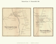 Thetford Center and Thetford Hill Villages, Vermont 1858 Old Town Map Custom Print - Orange Co.