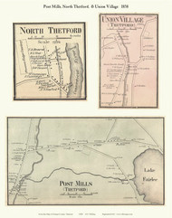 North Thetford, Union Mills, and Post Mills Villages, Vermont 1858 Old Town Map Custom Print - Orange Co.