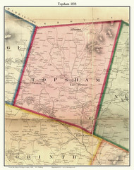 Topsham, Vermont 1858 Old Town Map Custom Print - Orange Co.