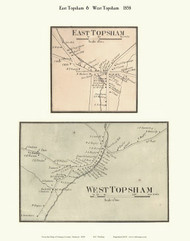 East Topsham and West Topsham Villages, Vermont 1858 Old Town Map Custom Print - Orange Co.