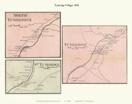 Tunbridge, North Tunbridge, and South Tunbridge Villages, Vermont 1858 Old Town Map Custom Print - Orange Co.