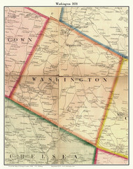 Washington, Vermont 1858 Old Town Map Custom Print - Orange Co.