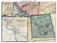 Barre Poster Map, 1858 Old Town Map Custom Print - Washington Co. VT