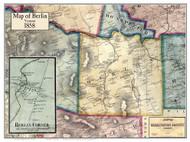 Berlin Poster Map, 1858 Old Town Map Custom Print - Washington Co. VT