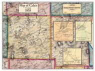 Calais Poster Map, 1858 Old Town Map Custom Print - Washington Co. VT