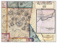 Marshfield Poster Map, 1858 Old Town Map Custom Print - Washington Co. VT