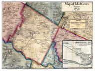 Middlesex Poster Map, 1858 Old Town Map Custom Print - Washington Co. VT