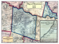 Moretown Poster Map, 1858 Old Town Map Custom Print - Washington Co. VT