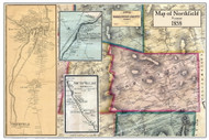 Northfield Poster Map, 1858 Old Town Map Custom Print - Washington Co. VT
