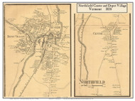 Northfield Village Poster Map, 1858 Old Town Map Custom Print - Washington Co. VT