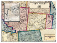 Plainfield Poster Map, 1858 Old Town Map Custom Print - Washington Co. VT