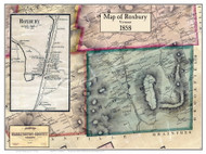 Roxbury Poster Map, 1858 Old Town Map Custom Print - Washington Co. VT