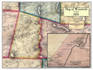 Waitsfield Poster Map, 1858 Old Town Map Custom Print - Washington Co. VT