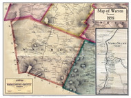 Warren Poster Map, 1858 Old Town Map Custom Print - Washington Co. VT