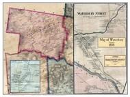 Waterbury Poster Map, 1858 Old Town Map Custom Print - Washington Co. VT