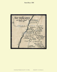 South Barre Village, Vermont 1858 Old Town Map Custom Print - Washington Co.