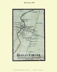 Berlin Corner Village, Vermont 1858 Old Town Map Custom Print - Washington Co.