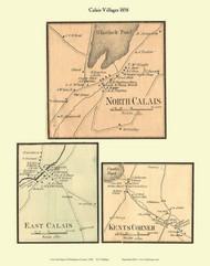 North Calais, East Calais, and Kent's Corner Villages, Vermont 1858 Old Town Map Custom Print - Washington Co.