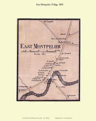 East Montpelier Village, Vermont 1858 Old Town Map Custom Print - Washington Co.