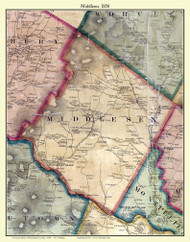 Middlesex, Vermont 1858 Old Town Map Custom Print - Washington Co.