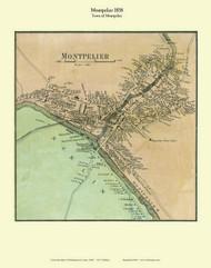 Montpelier Village, Vermont 1858 Old Town Map Custom Print - Washington Co.