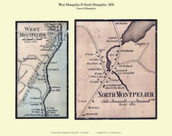 West Montpelier and North Montpelier Villages, Vermont 1858 Old Town Map Custom Print - Washington Co.