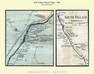 South Village and Falls Village, Vermont 1858 Old Town Map Custom Print - Washington Co.