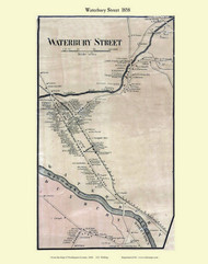 Waterbury Street Village, Vermont 1858 Old Town Map Custom Print - Washington Co.