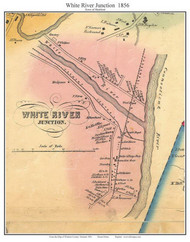 White River Juction, Vermont 1856 Old Town Map Custom Print - Windsor Co.