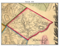 Norwich, Vermont 1856 Old Town Map Custom Print - Windsor Co.