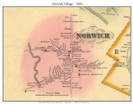 Norwich Village, Vermont 1856 Old Town Map Custom Print - Windsor Co.