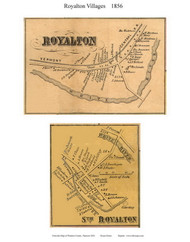 Royalton and South Royalton Villages, Vermont 1856 Old Town Map Custom Print - Windsor Co.