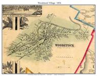 Woodstock Village, Vermont 1856 Old Town Map Custom Print - Windsor Co.