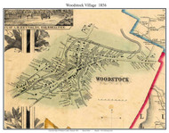 Woodstock Village, Vermont 1856 Old Town Map Custom Print - Windsor Co.