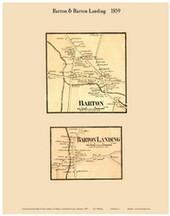 Barton and Barton Landing Villages, Vermont 1859 Old Town Map Custom Print - Orleans Co.