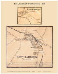 East Charleston and West Charleston Villages, Vermont 1859 Old Town Map Custom Print - Orleans Co.