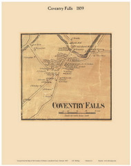 Coventry Falls, Vermont 1859 Old Town Map Custom Print - Orleans Co.