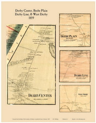 Derby Center, Beebe Plain, Derby Line, and West Derby Villages, Vermont 1859 Old Town Map Custom Print - Orleans Co.
