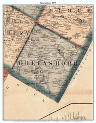 Greensboro, Vermont 1859 Old Town Map Custom Print - Orleans Co.