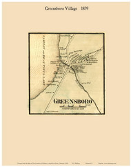 Greensboro Village, Vermont 1859 Old Town Map Custom Print - Orleans Co.