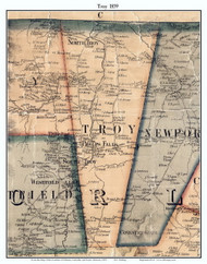 Troy, Vermont 1859 Old Town Map Custom Print - Orleans Co.