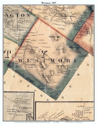 Westmore, Vermont 1859 Old Town Map Custom Print - Orleans Co.