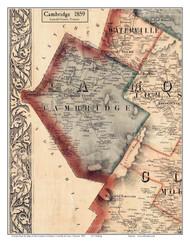 Cambridge, Vermont 1859 Old Town Map Custom Print - Lamoille Co.