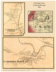 Cambridge Center and Cambridge Borough Villages, Vermont 1859 Old Town Map Custom Print - Lamoille Co.