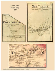 Eden Corner Village and Mill Village, Vermont 1859 Old Town Map Custom Print - Lamoille Co.