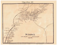 Stowe Village, Vermont 1859 Old Town Map Custom Print - Lamoille Co.